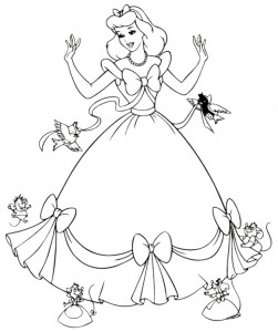 Cinderella-Dress-Mice-Coloring